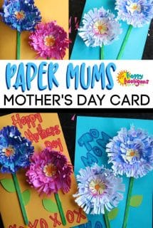 Paper Flower Mums Mother's Day Card