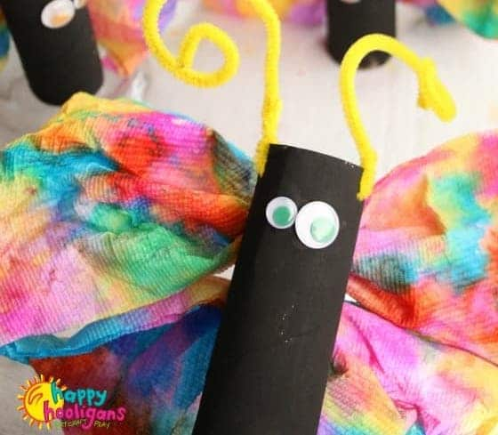 Paper towel and toilet roll butterfly craft for kids