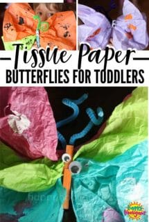 Preschool Butterfly craft with tissue paper and clothespins