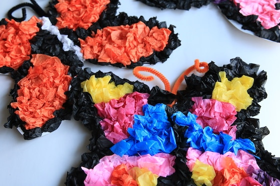 Crumpled Tissue Paper Butterfly Craft for Tweens