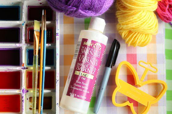 liquid watercolours varnish and yarn