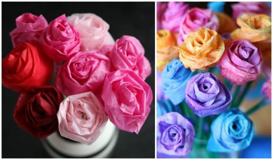 paper roses collage