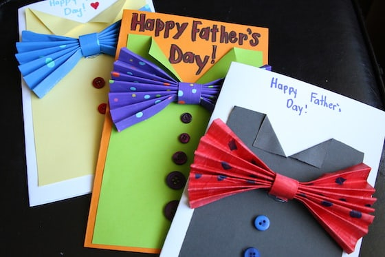 3 paper bow tie cards for father's day