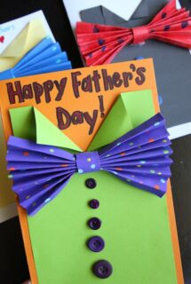 Folded Paper Bow Tie Father's Day Cards