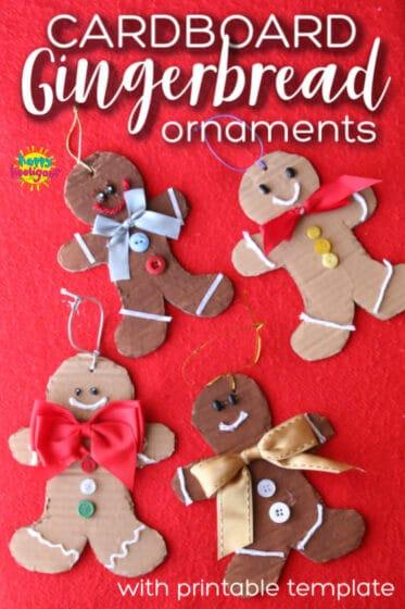 Cardboard gingerbread man ornaments