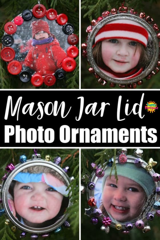 Mason Jar Lid Photo Ornaments for Kids to Make