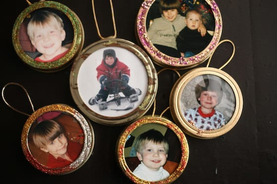 My boys mason lid ornaments when they were little