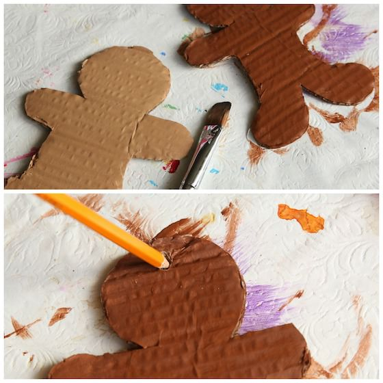 collage - painted gingerbreads, punching hole in ornament