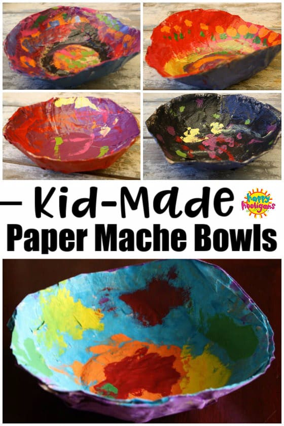 Easy Paper Mache Bowls for Kids to Make and Give