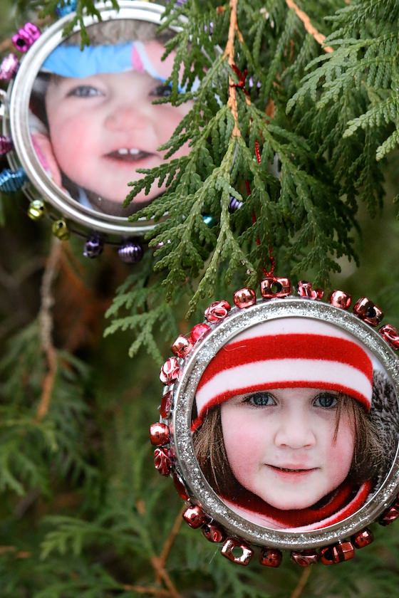 toddler and preschooler photos in mason jar lid