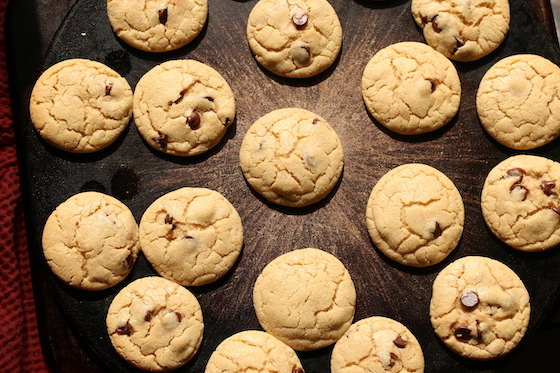 chocolate chip cookies baked on baking stone