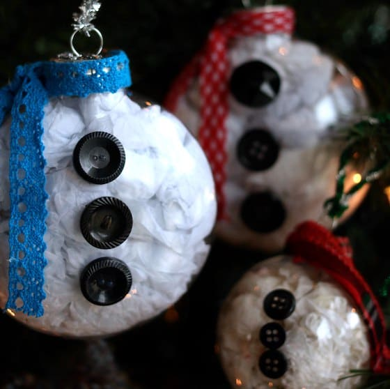 Square image snowman belly ornaments