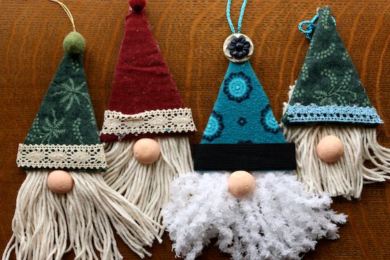 4 gnome ornaments hats, beards, noses, no eyes