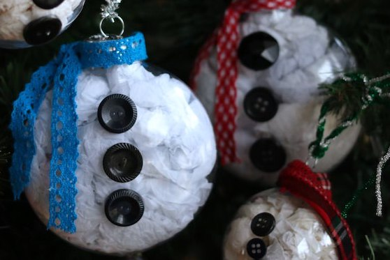 close up snowman belly ornaments for social