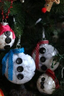 4 snowman body ornaments