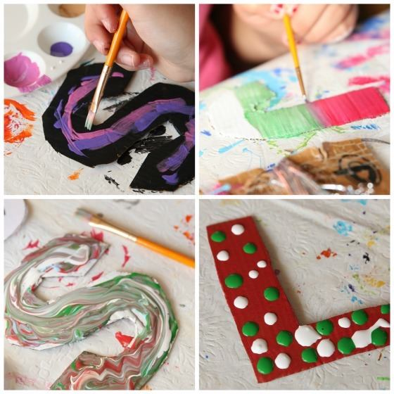 4 step photos of kids painting cardboard letter craft