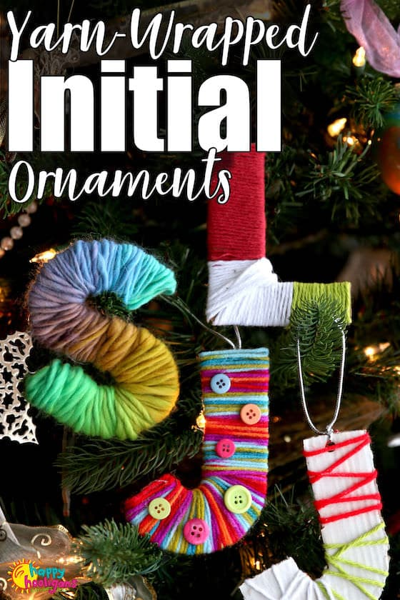 Yarn-Wrapped Initial Ornaments for Kids to Make - Pinnable Image