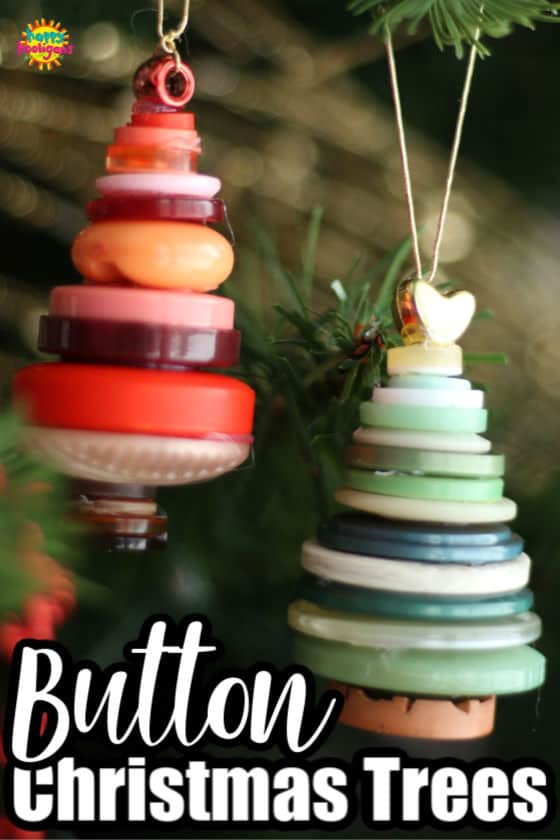Button Christmas Tree Ornaments made with a glue gun