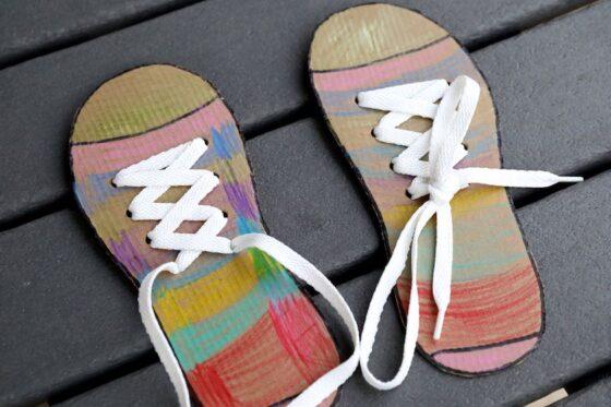 homemade cardboard shoe tying activity