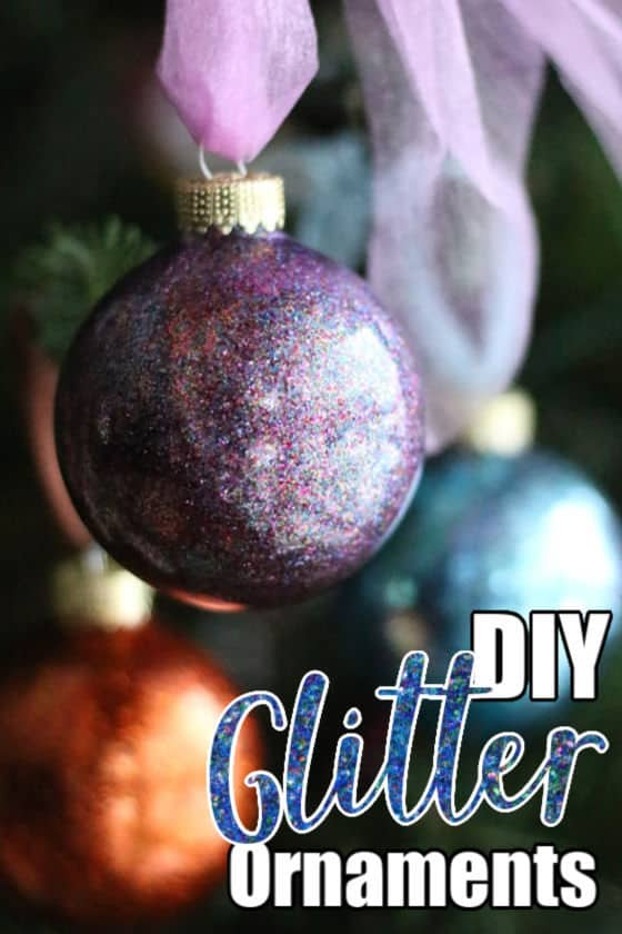 DIY Glitter Ornaments made with clear plastic balls, hairspray and glitter