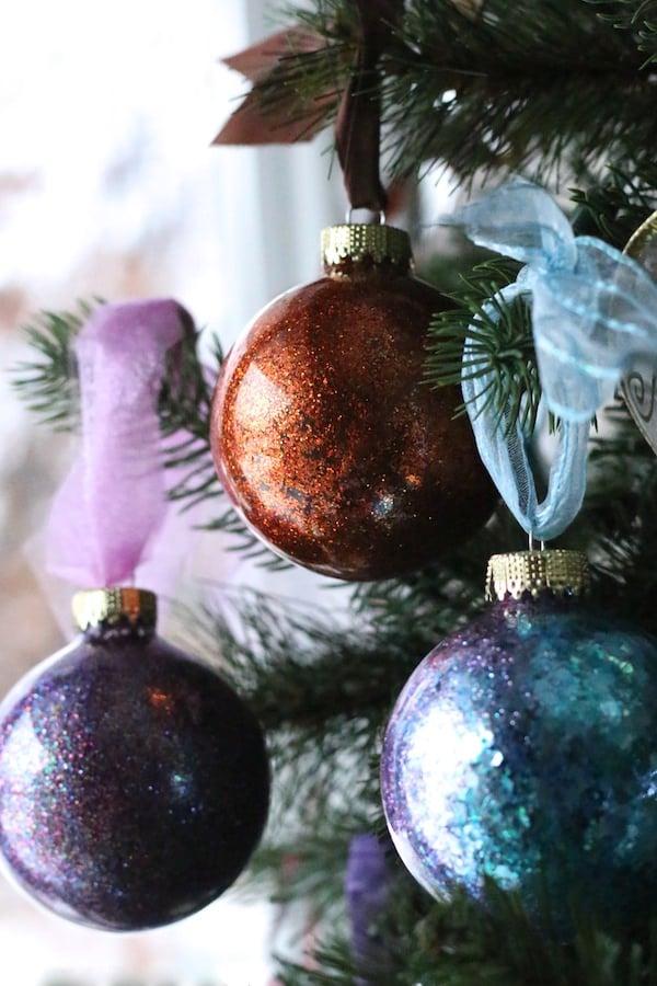 DIY Glitter Ornaments purple, copper and blue - feature image