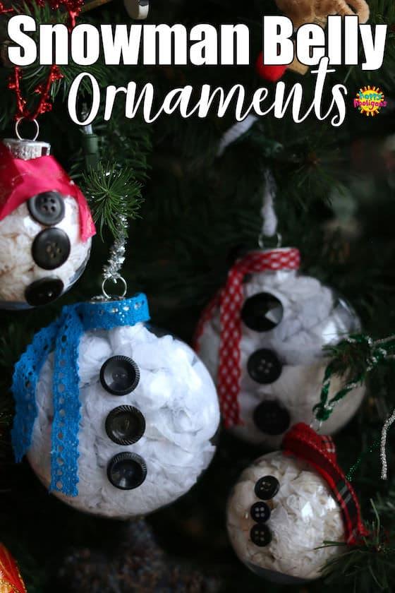 Snowman Belly Ornaments - ornements en plastique transparent bourrés de papier de soie blanc
