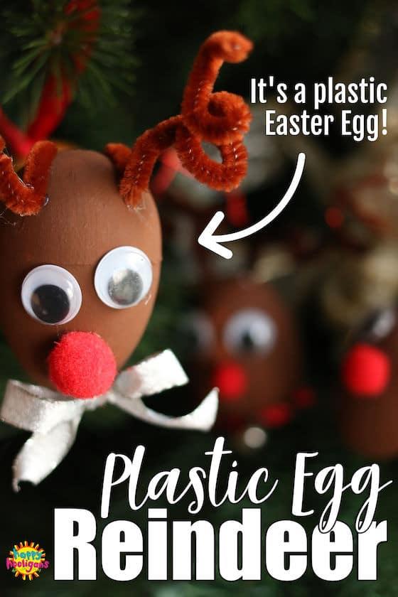 Plastic Easter Egg Reindeer Ornament