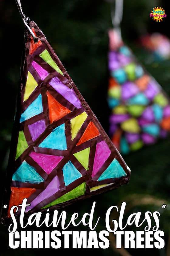 Sharpie and Tinfoil Stained Glass Christmas Tree Ornaments
