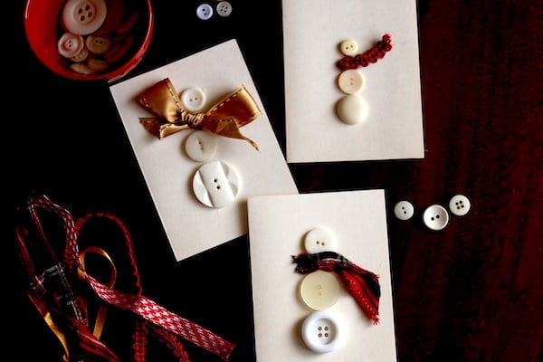 3 Homemade Christmas Cards - snowmen made with buttons and ribbon