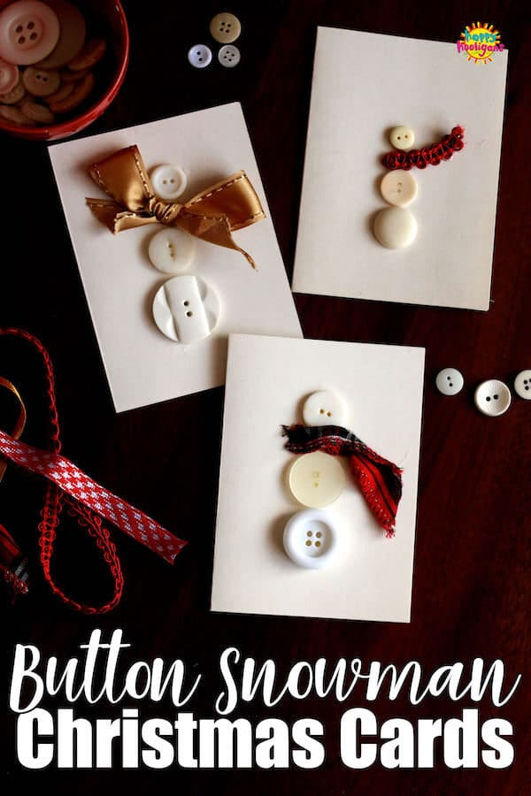 Homemade Button Snowman Christmas Cards - Happy Hooligans