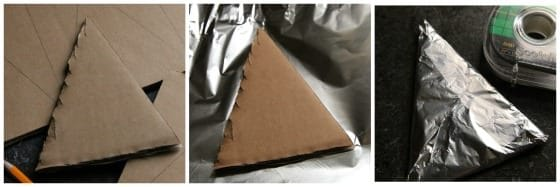 How to cover a cardboard triangle with foil - 3 step photos