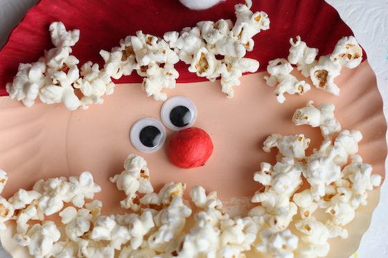 Horizontal closeup popcorn santa craft
