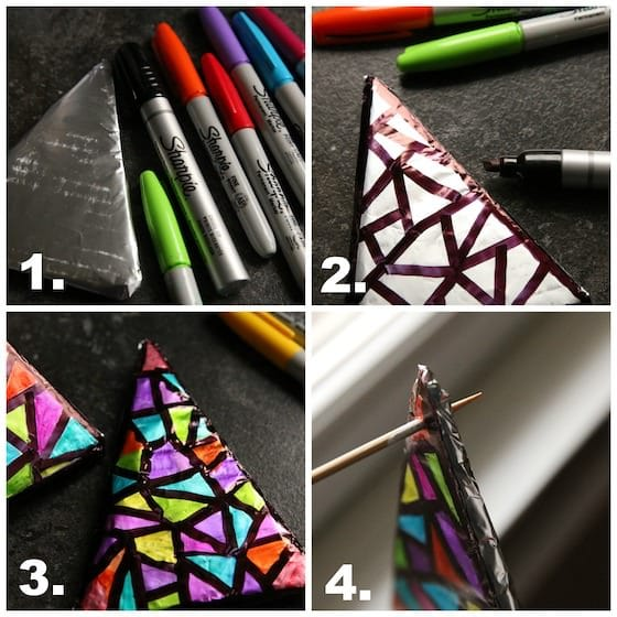 4 step photos for colouring foil tree with Sharpies