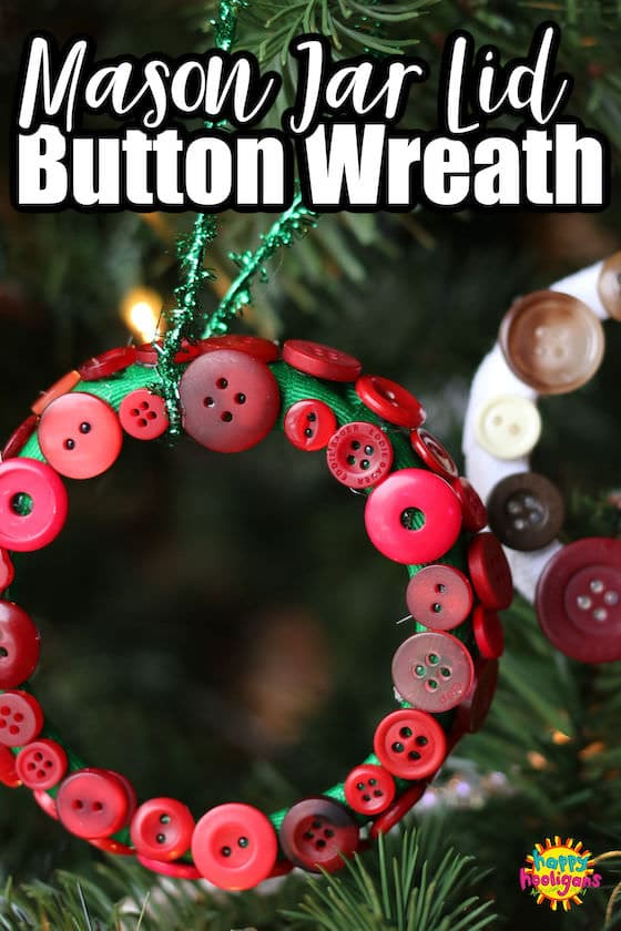 Mason Jar Lid Ornament with green ribbon and red buttons on Christmas tree