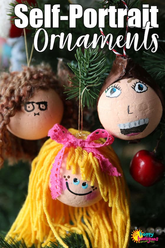 Kids can turn a styrofoam ball into a self-portrait ornament for the Christmas tree with a little paint and yarn. Easy, adorable and so much fun to make. #HappyHooligans #Christmas #Crafts #Homemade #Ornaments #SelfPortrait #Craft #KidsCrafts #ArtForKids #Art #Teens #Tweens