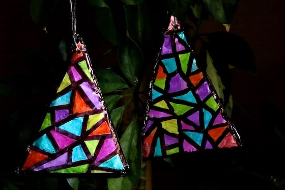 2 stained glass sharpie tinfoil Christmas tree ornaments Horizontal