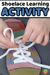 Cardboard shoelace tying activity