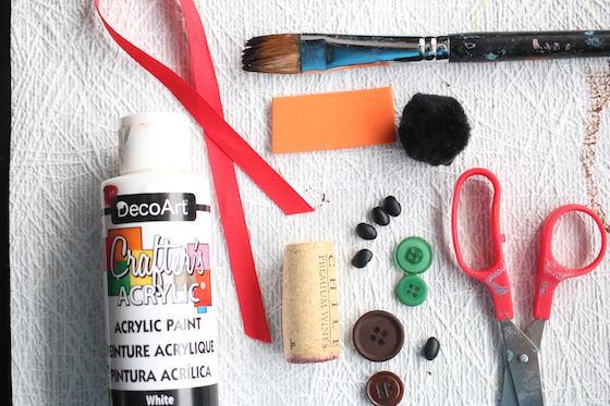 Supplies for making cork snowman