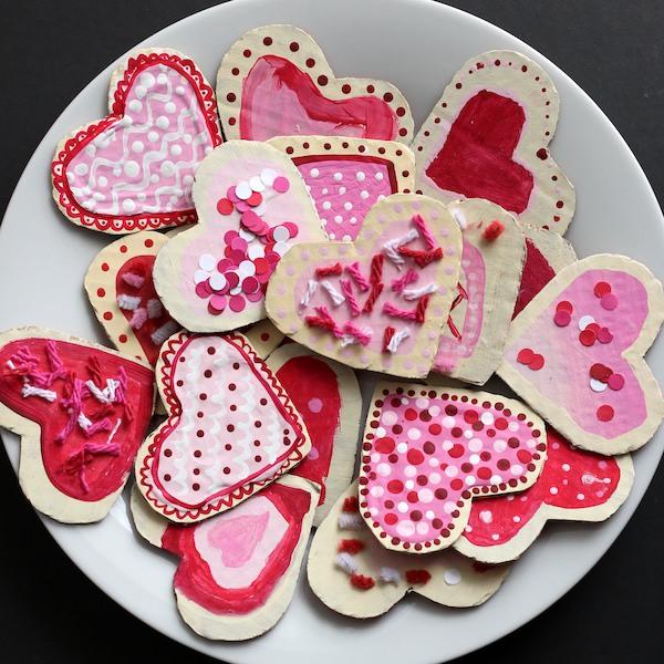 Plate of Cardboard Valentines Cookies