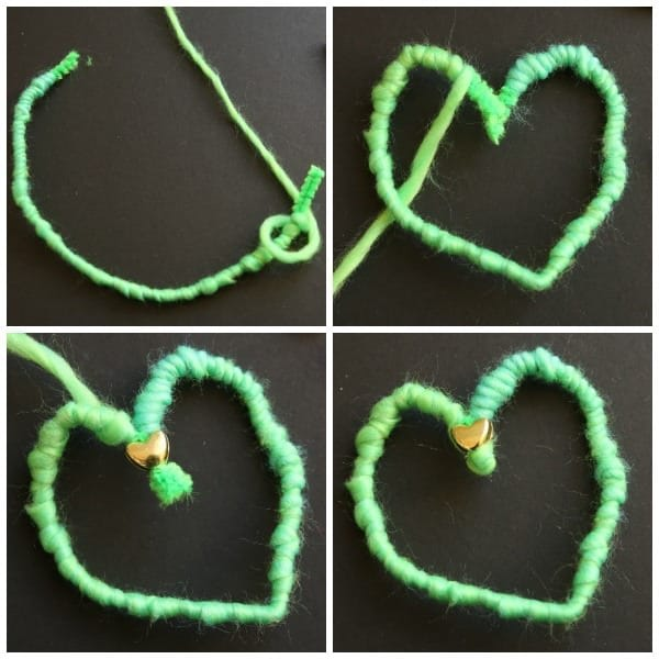 step photos yarn heart collage