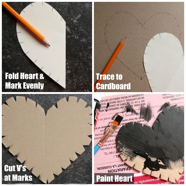 step photos - how to prepare cardboard heart for string art