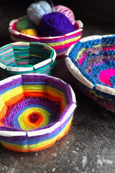 Woven Paper Plate Bowls made by Kids