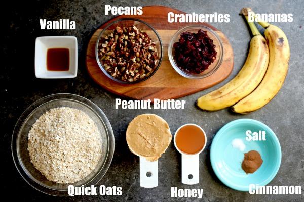 Breakfast Cookie Ingredients: oats, nuts, cranberries, bananas, peanut butter honey, cinnamon.