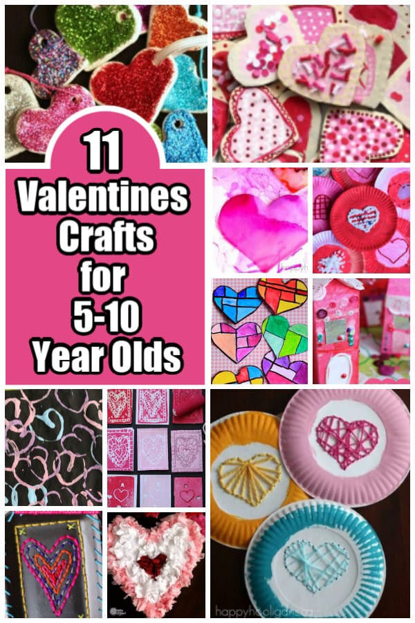These Valentines crafts are all perfect for elementary school aged kids. Minimal prep, fun to make, and they all look amazing. #HappyHooligans #Valentines #Crafts #5-10 #Activities #Kids #ElementaryStudents #ValentinesArt #Craft #ValentinesDay #Heart #Craft