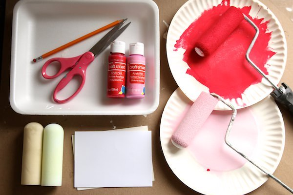 styrofoam, rollers, paint, scissors, pencil, paper plates