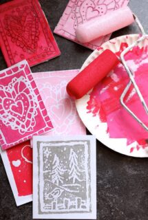 homemade valentines cards - block printmaking craft - red and pink paint - feature image