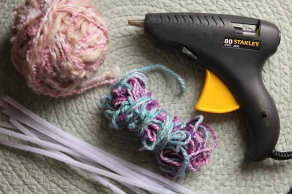 yarn, pipe cleaners, glue gun