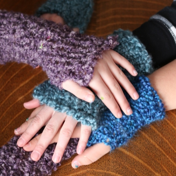 kids hands stacked wearing loom knit fingerless gloves