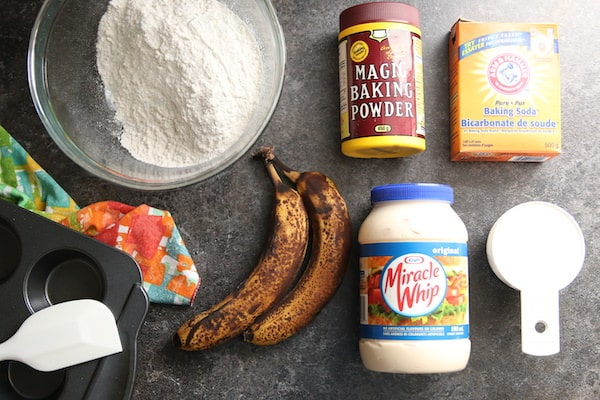 Ingredients for banana muffins made with mayonnaise
