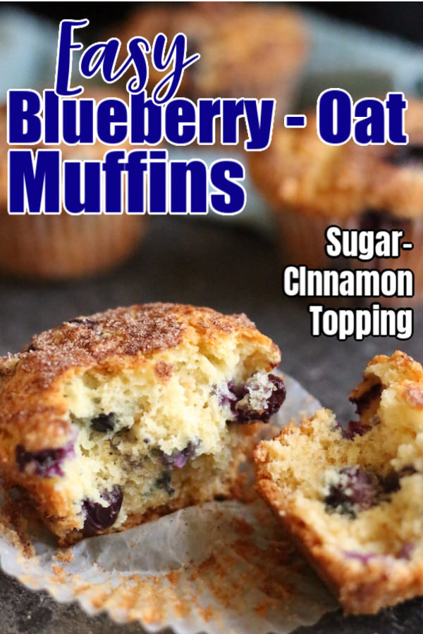 Easy Blueberry Oatmeal Muffins - pin image
